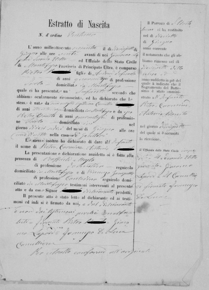 Dossier mariage Pietro Bonito estratto Pietro